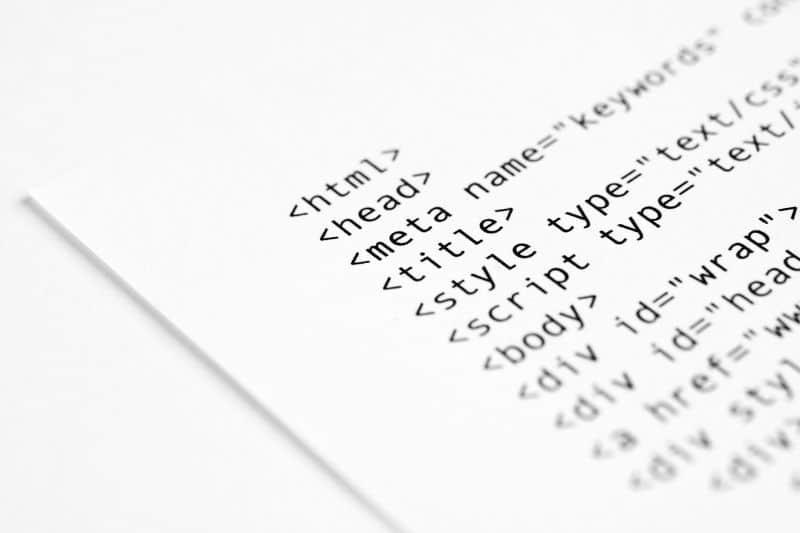 Página de papel escrito en HTML